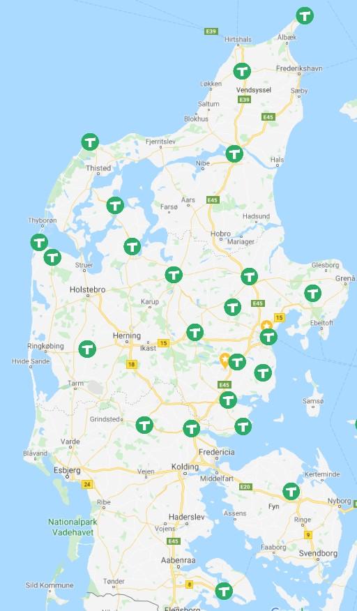 Dantaxi dækningskort Jylland august 2020
