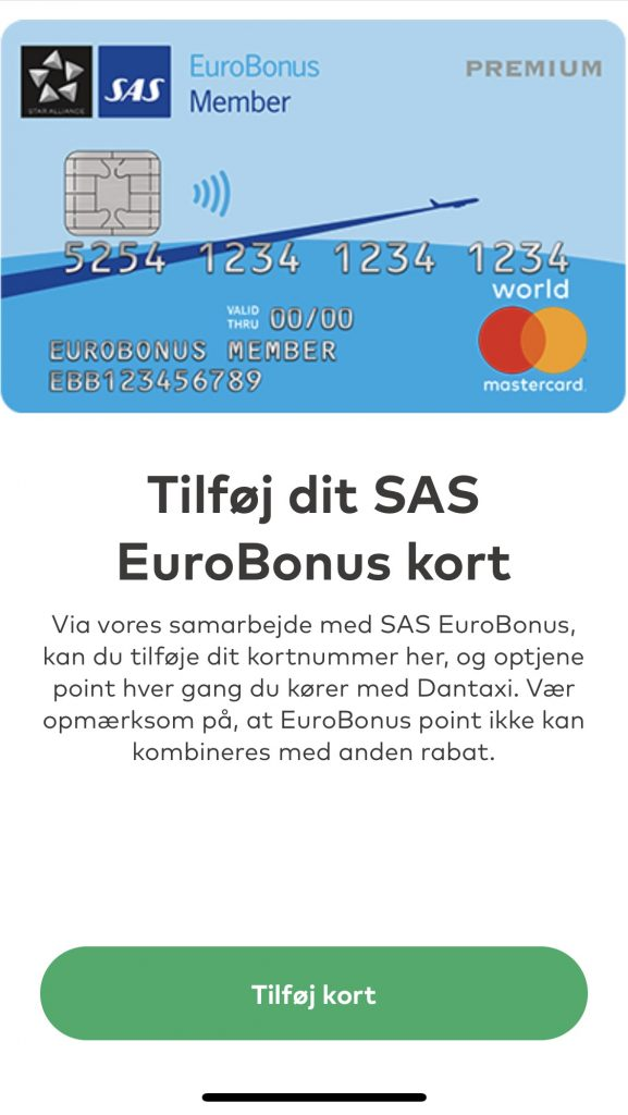 SAS EuroBonus Dantaxi-taxa-app